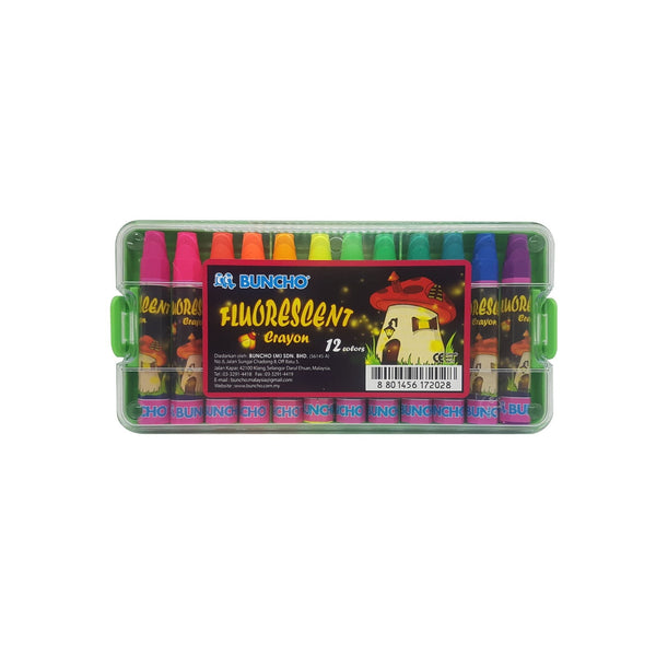 Buncho Fluorescent Color Crayon | 12 Assorted Colours
