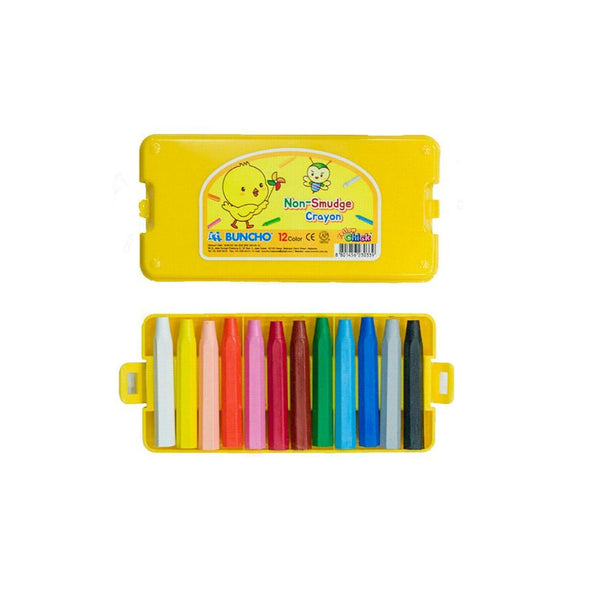 Buncho Yellow Chick Non-Smudge Crayon | 12 Assorted Colours