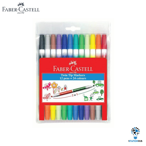 Faber Castell Twin Tip Markers | 12 Pens 24 Colours