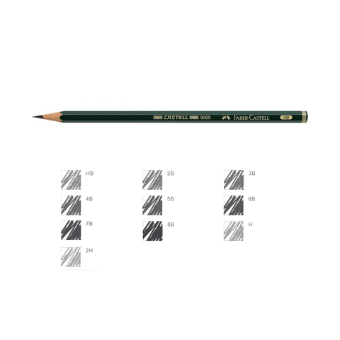 Faber Castell Graphite Pencil 9000 Black Lead | Pack of 12 Pencils