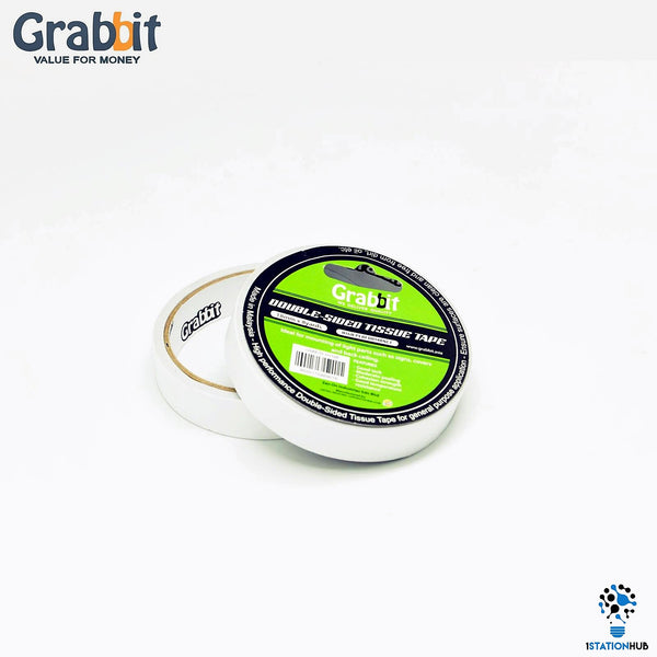 Grabbit Double Sided Tissue Tape 18mm x 8yards | 2 Rolls