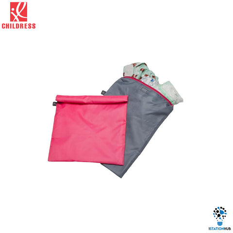J.L. Childress 2pc Wet-to-go Wet Bags - Pink/ Grey