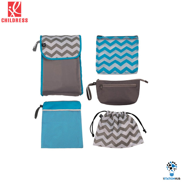 J.L. Childress 5-in-1 Diaper Bag Organizer | Grey.Teal Chevron