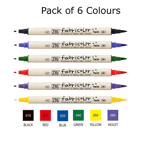 Zig Kuretake Fabricolor | Dual Tip - Pack of 6 Colours