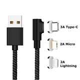 Fast Charging Magnetic Charging & Data Cable | L-Shape - Black