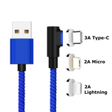 Fast Charging Magnetic Charging & Data Cable | L-Shape - Blue