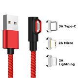 Fast Charging Magnetic Charging & Data Cable | L-Shape - Red