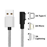 Fast Charging Magnetic Charging & Data Cable | L-Shape - Silver