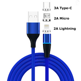 Fast Charging Magnetic Charging & Data Cable |  Round Shape - Blue