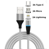 Fast Charging Magnetic Charging & Data Cable |  Round Shape - Silver
