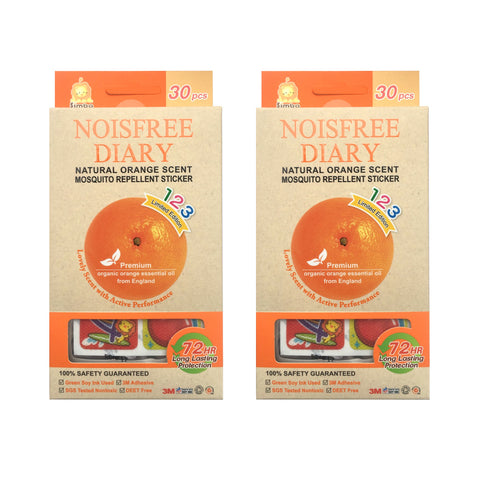 Simba Noisefree Diary 123 | 30pcs Natural Orange Scented Mosquito Repellent Sticker | 2 Pack