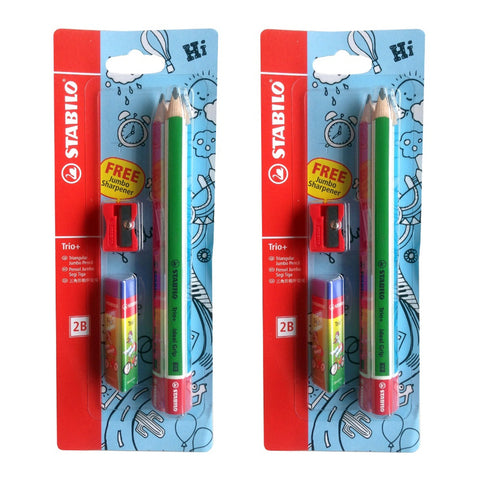 Stabilo Triangular Jumbo 2B Pencils Trio+ | 2 Pack