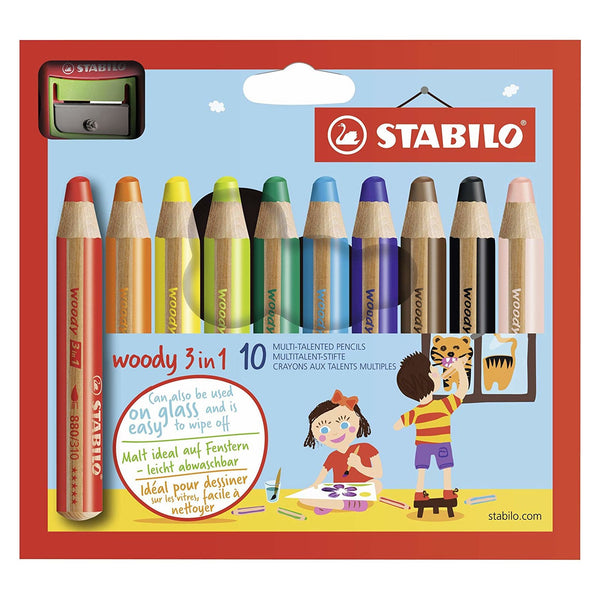 Stabilo Woody 3 in 1 Pencil | 10's + Sharpener