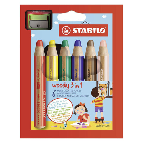 Stabilo Woody 3 in 1 Pencil | 6's + Sharpener
