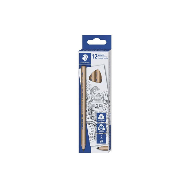 Staedtler 12 Jumbo Triangular 2B Pencils Natural Wood