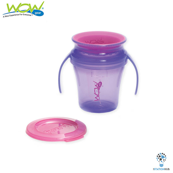 JUICY! WOW Baby Translucent Spill Free Training Cups - Purple/Pink