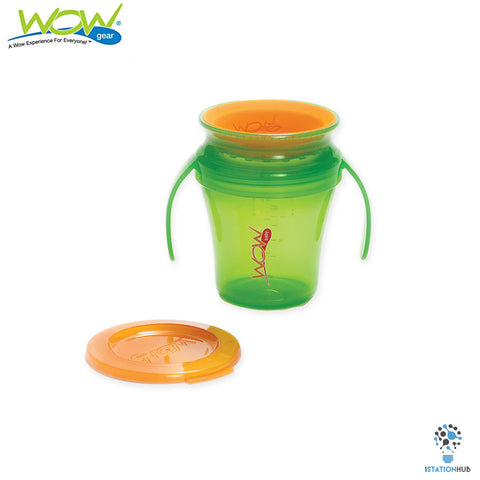 JUICY! WOW Baby Translucent Spill Free Training Cups - Green/Orange