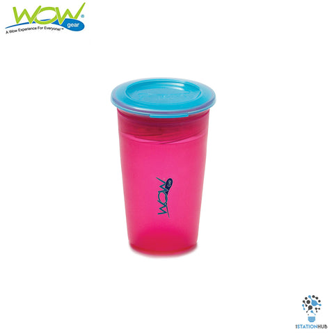 JUICY! WOW Cup for Kids Translucent Spill Free Tumblers - Pink/Blue