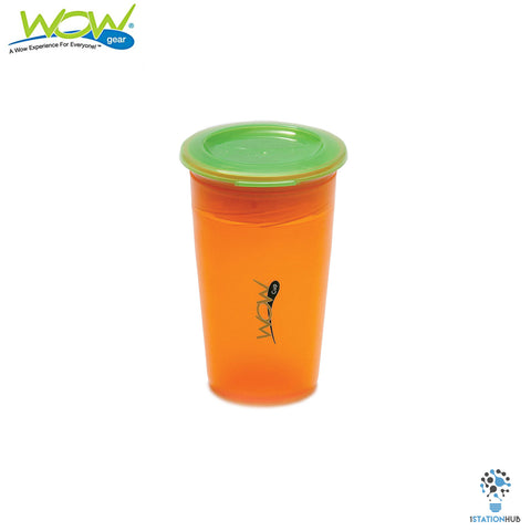 JUICY! WOW Cup for Kids Translucent Spill Free Tumblers - Orange/Green