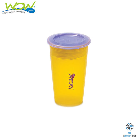 JUICY! WOW Cup for Kids Translucent Spill Free Tumblers - Yellow/Purple