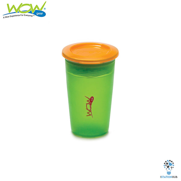 JUICY! WOW Cup for Kids Translucent Spill Free Tumblers - Green/Orange