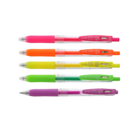 Zebra Sarasa Binder Clip | Gel Ink 0.5 mm | Neon Set