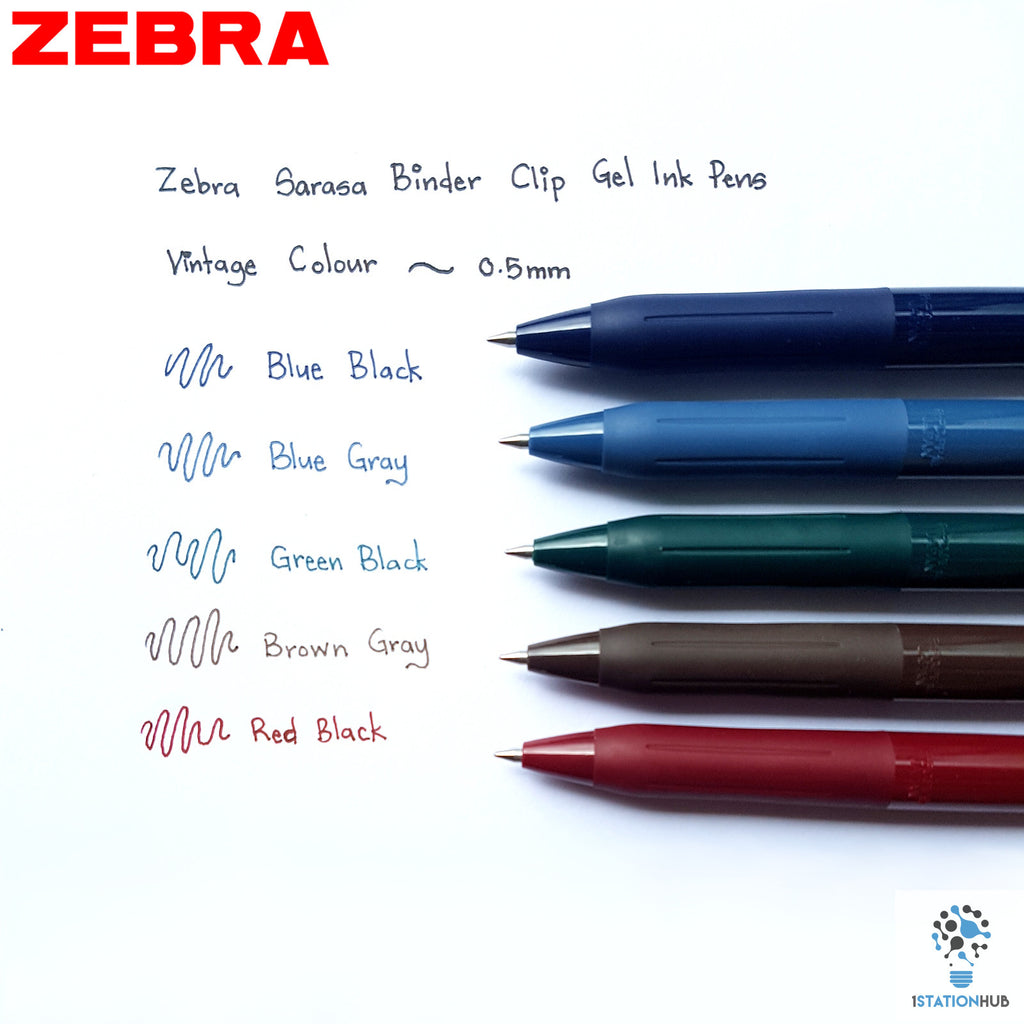 b92dca0f45c0 Zebra Sarasa Binder Clip | Gel Ink 0.5 mm | Vintage Set – 1 Station Hub
