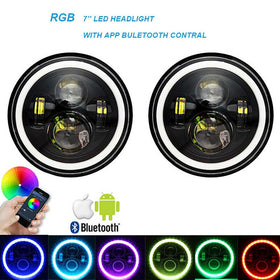 RGB 7 Inch Halo LED Headlights DRL Lights With APP Bluetooth Control For Jeep Wrangler JK TJ LJ