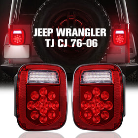 76-06 Jeep Wrangler TJ CJ LED Tail Lights Stop Reverse Rear Brake Lamps