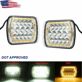 Pair 5x7'' 7x6'' LED Headlights Hi-Lo Beam Halo DRL For Jeep Wrangler Cherokee