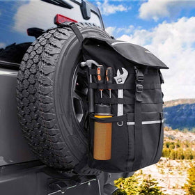 Large Capacity Spare Tire Storage Bag for Jeep Wrangler JK JKU YJ TJ Trucks, SUV, Off-Road Recovery Gear