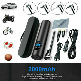 Car Tire Compressed Air Pump Bicycle Compressor 12V 150PSI With Battery 2000mAh