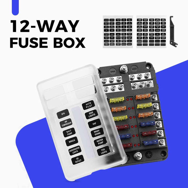 Fuse Block 12 Way Blade Fuse Box with LED Indicator 10A Per Circuit Waterproof Cover