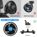 2 In 1 Car Cooling Fan for Front Rear Seat + Rear Seat Bracket