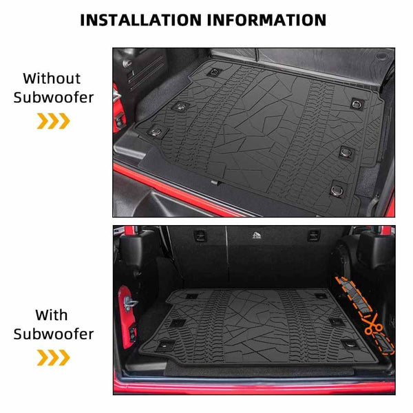 All Weather Protection Cargo Mats for 2018 - 2021 Jeep Wrangler JL 4 Door