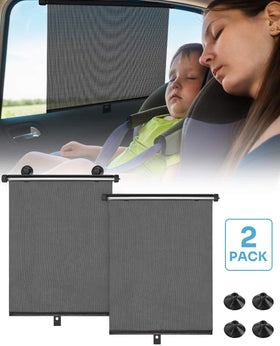 2Pcs Car Roller Side Window Shade for Block Sun Glare and Heat