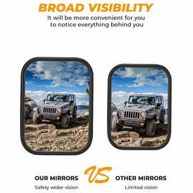 Doors Off Quick Release Side View Mirrors for Jeep Wrangler TJ JK JKU 1996 to 2018