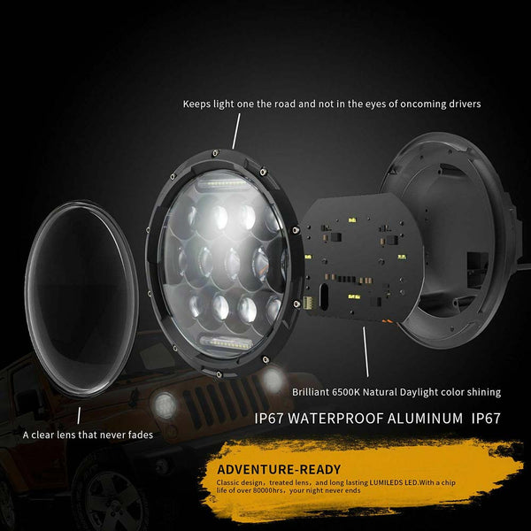 Pair 7 Inch LED Headlight Hi/Lo Beam DRL For Jeep Wrangler JK LJ TJ Dodge Chevy