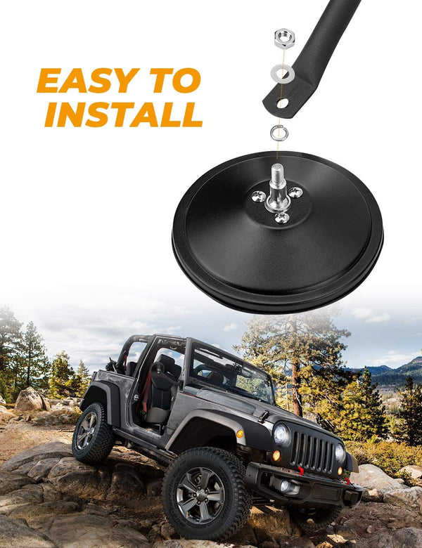 Doors Off Quick Release, Hinge Round Mirrors for Jeep Wrangler 2007-2018 JK JKU, 1996- 2006 TJ
