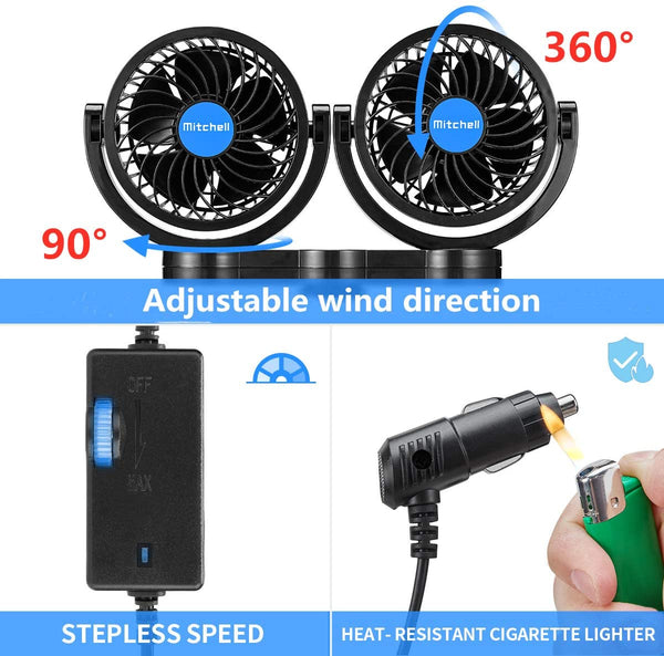 2 In 1 Dual Head Car Fan with Suction Cup + Rear Seat Bracket A