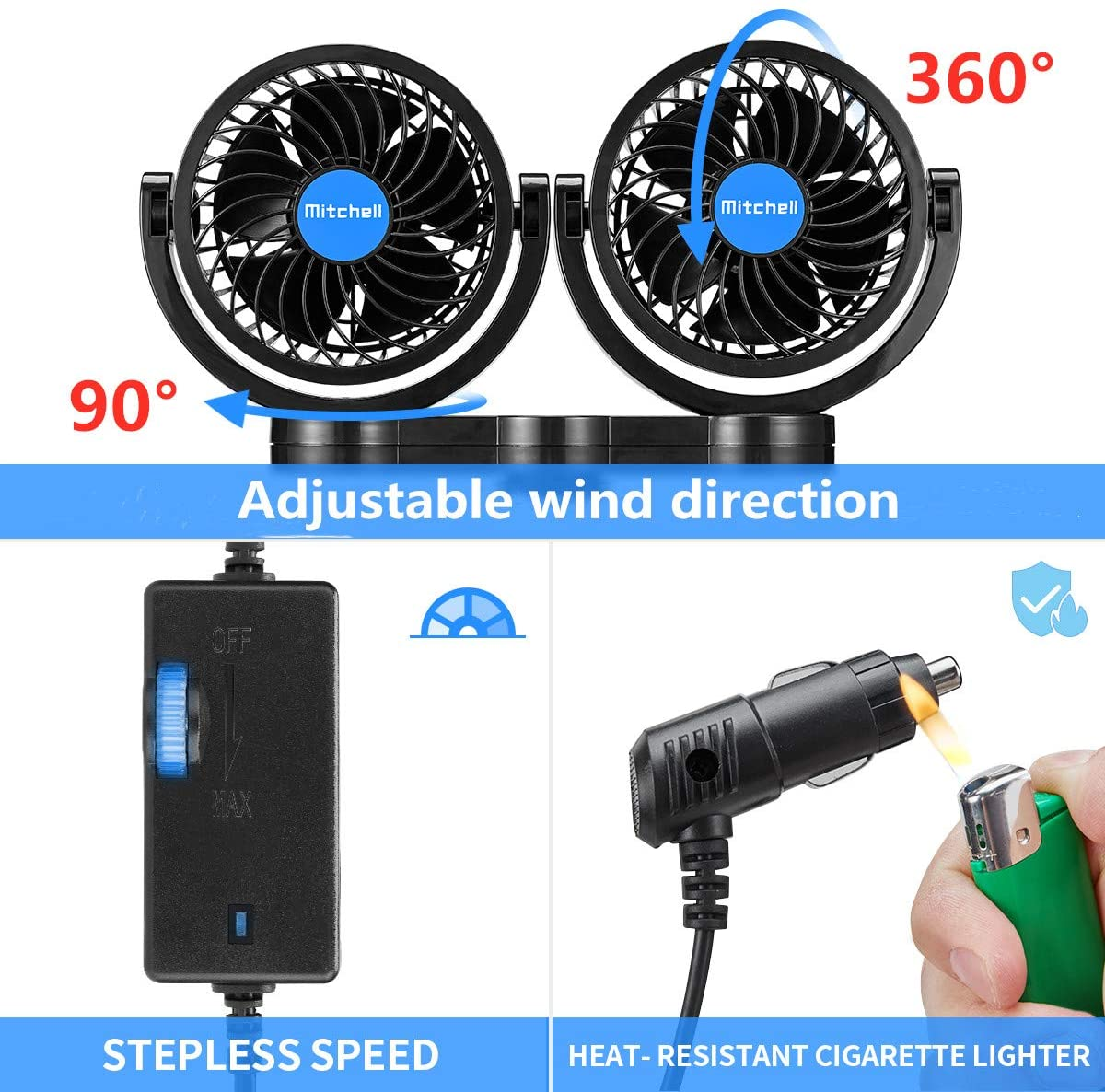 2 In 1 Dual Head Car Fan with Suction Cup + Rear Seat Bracket