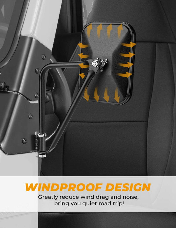 Doors Off Wide Vision Mirrors Quick Release for Jeep Wrangler TJ JK JKU JL JLU JT Gladiator 1996 to 2020