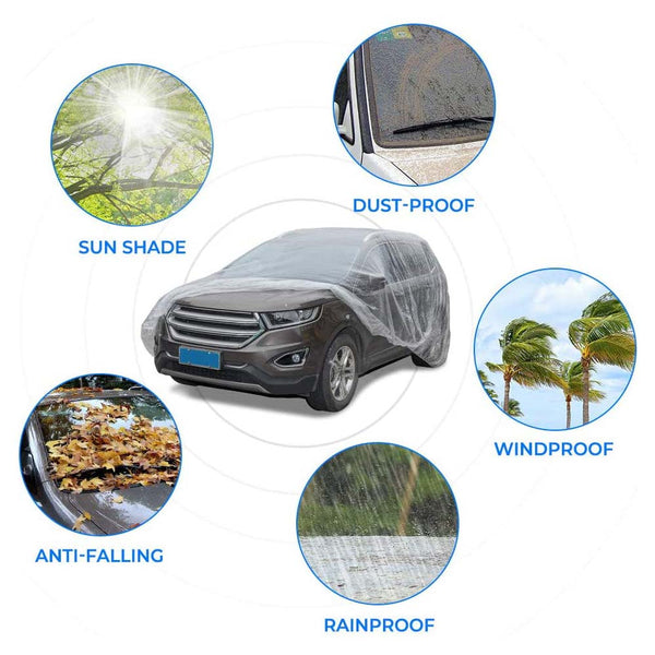 Disposable All-Weather Transparent Plastic Universal Clear Waterproof Dustproof Cover for Car Sedan SUV