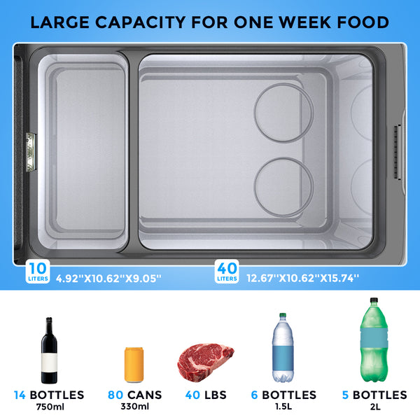 Portable Refrigerator Fridge 42 Quart Car Fridge Freezer 40L with 12/24V DC and 110-240 AC.
