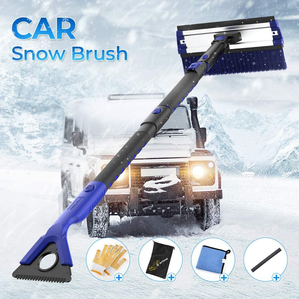 5 in 1 Extendable Detachable Foam Car Snow Brush with Ice Scraper Squeegee and Durable Gloves