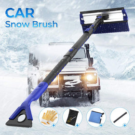 4 in 1 Extendable Detachable Foam Car Snow Brush with Ice Scraper Squeegee and Durable Gloves