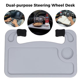 Portable Car Wheel Desk Fits Most Vehicles Steering Wheels, Grey