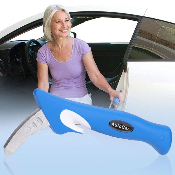 Portable Vehicle Support Grab Bar with Window Breaker and Seat Belt Cutter