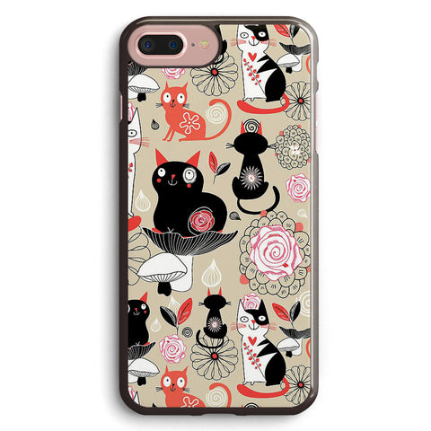Floral Pattern with Cats Apple iPhone 7 Plus Case Cover ISVA914