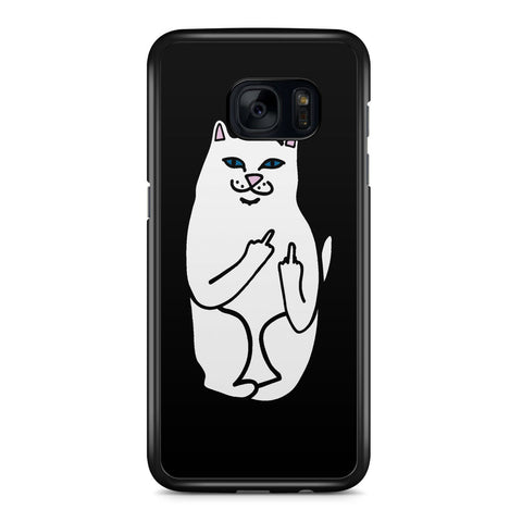 Ripndip White Cat with Middle Finger Samsung Galaxy S7 Edge Case Cover ISVA496